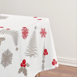 Toalha De Mesa Tablecloth vermelho e de prata do algodão do