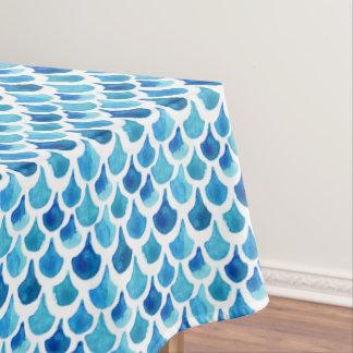 Toalha De Mesa Teste padrão azul da escala da aguarela