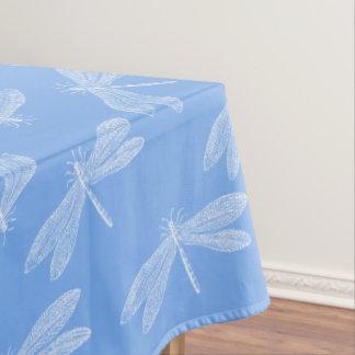 Toalha De Mesa Teste padrão azul e branco simples das libélulas