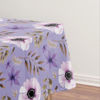 Toalha De Mesa Teste padrão botânico floral roxo tirado romântico