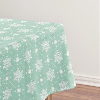 Toalha De Mesa Teste padrão branco verde do Natal dos flocos de