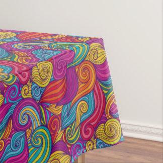 Toalha De Mesa Teste padrão de onda colorido retro de Swirly do