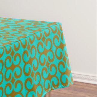 Toalha De Mesa Teste padrão elegante de turquesa e de Brown