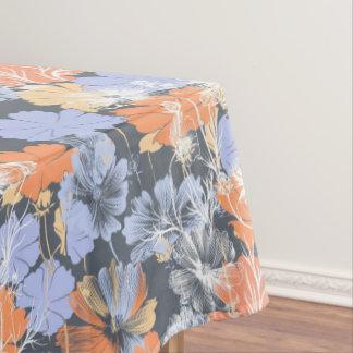 Toalha De Mesa Teste padrão floral alaranjado violeta cinzento do
