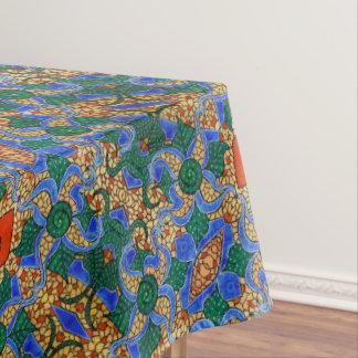 Toalha De Mesa Teste padrão floral azul abstrato