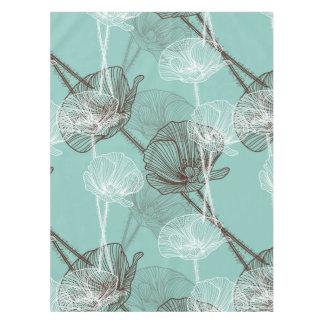 Toalha De Mesa Teste padrão floral do esboço da cerceta do Aqua