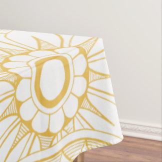 Toalha De Mesa Teste padrão floral do medalhão do vintage amarelo