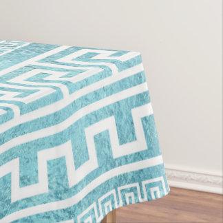 Toalha De Mesa Teste padrão grego azul delicado do meandro no