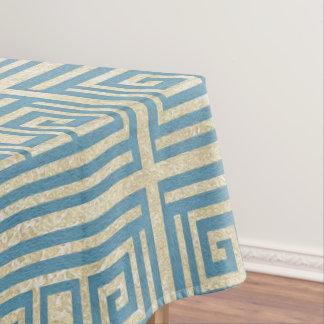 Toalha De Mesa Teste padrão grego do meandro do azulejo azul do