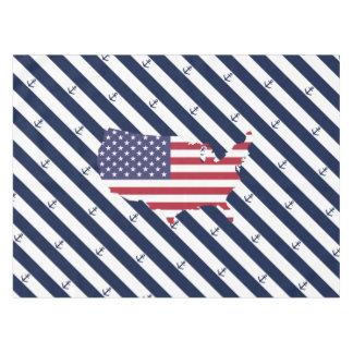 Toalha De Mesa Teste padrão náutico americano das listras da