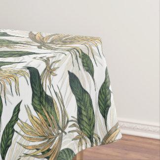 Toalha De Mesa Verde e folhas tropicais do ouro