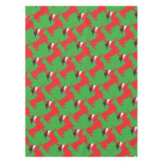 Toalha De Mesa Vermelho-Doxie---E-Papai noel-Chapéu