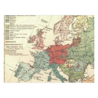 Toalha De Mesa Vintage europeu do mapa do continente