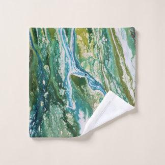 Toalha De Rosto Cachoeira azul verde abstrata colorida de turquesa