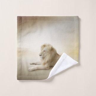 Toalha De Rosto Pano branco da lavagem do leão