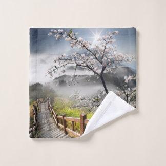 Toalha De Rosto Pano japonês da lavagem da paisagem da cereja