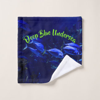 Toalha De Rosto Peixes tropicais submarinos azuis profundos