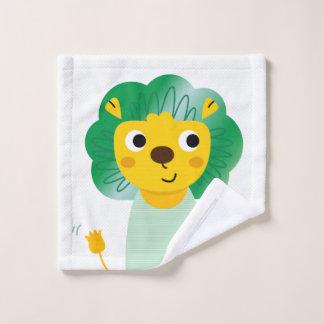 Toalha De Rosto Verde do ouro do leão do Washcloth