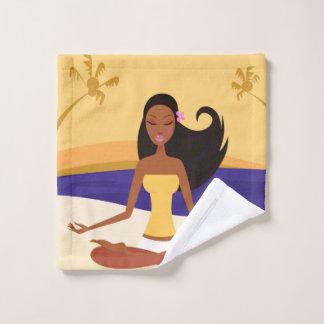 Toalha De Rosto Washcloth com menina da ioga