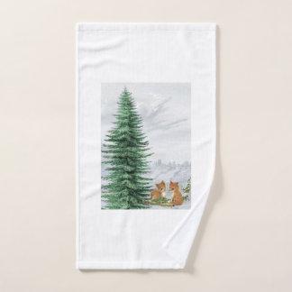 Toalha do Natal da árvore de abeto do Fox do bebê