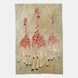 Toalha dos girafas da rosa vermelha do vintage