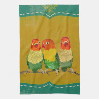 Toalha dos pássaros do amor do ouro
