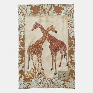 Toalhas alaranjadas da flor dos girafas toalha de mão