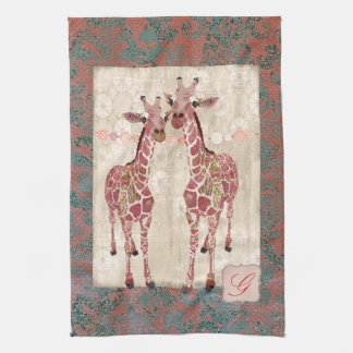 Toalhas cor-de-rosa do monograma dos girafas delic