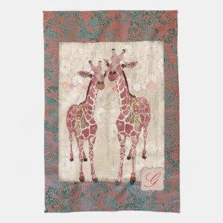 Toalhas cor-de-rosa do monograma dos girafas delic panos de prato