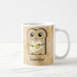 Toasties bonito - manteiga e ovo caneca de café