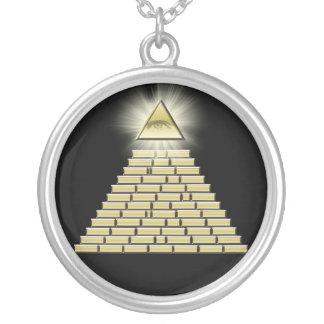 Toda a pirâmide de vista 2 do olho colar banhado a prata