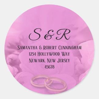 Toda rosa floral com etiqueta dos anéis