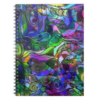 Todas as cores com redemoinhos e linhas caderno espiral