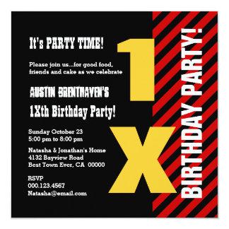 Todo o preto vermelho do aniversário adolescente convites personalizados