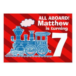 Todos a bordo da festa de aniversário do trem dos convite 12.7 x 17.78cm