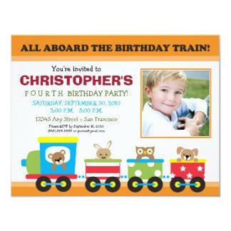 Todos a bordo do aniversário do menino do trem convite 10.79 x 13.97cm