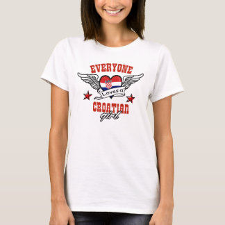 Todos ama a menina croata camiseta