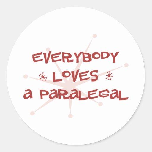 Todos ama um Paralegal Adesivo Em Formato Redondo