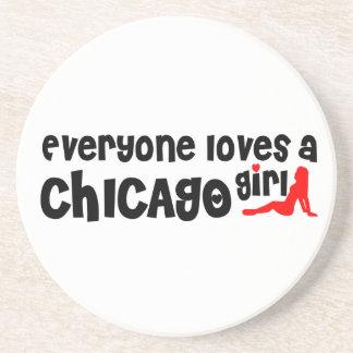 Todos ama uma menina de Chicago Porta Copos De Arenito