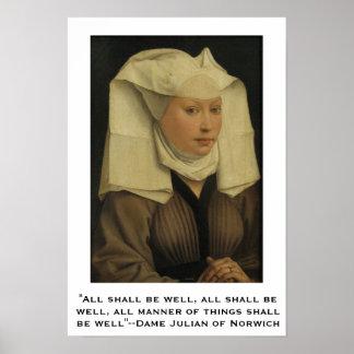 Todos serão bem--Dama Juliano de Norwich Poster