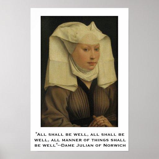 Todos serão bem--Dama Juliano de Norwich Posteres