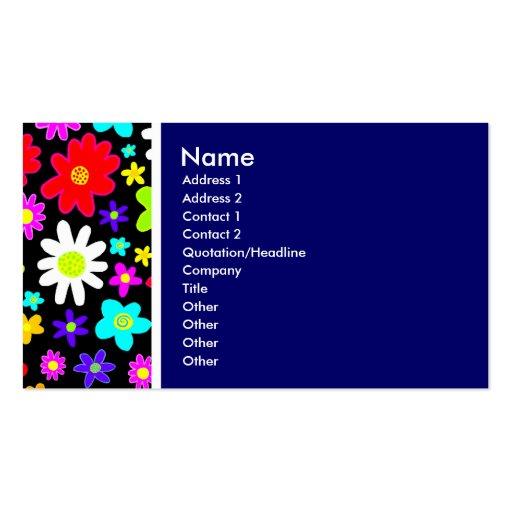 Tom da textura (flores dos desenhos animados) azul cartoes de visita