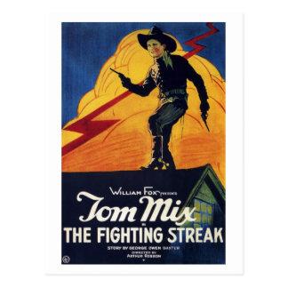 """Tom Mix """"no cartão da raia de combate"""""""