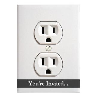 Tomada elétrica falsificada convite personalizados