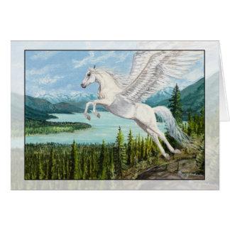 Tomando o cartão da fantasia do cavalo de Pegasus
