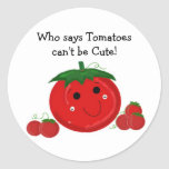 Tomates bonitos adesivo em formato redondo