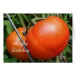 Tomates vermelhos no cartão de aniversário da natu