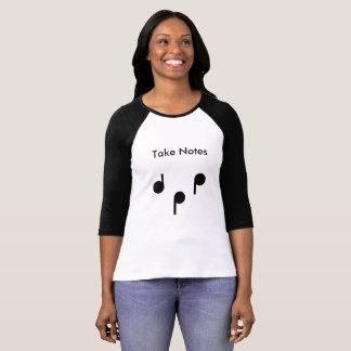 Tome a notas 3/4 de luva camisa preto e branco