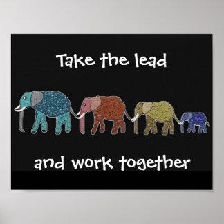 Tome aos elefantes da ligação o poster inspirador