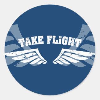 Tome as asas da aviação do vôo adesivos redondos
